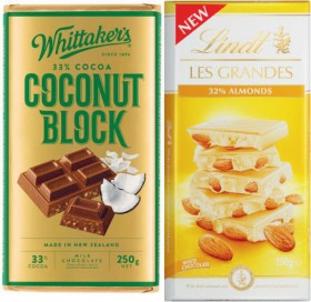 Whittakers-Block-Chocolate-200g-250g-or-Lindt-Les-Grandes-Block-Chocolate-150g on sale