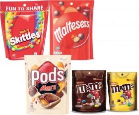 Skittles-190g-200g-or-Starburst-Chews-235g-or-Mars-MMs-Maltesers-or-Pods-120g-180g on sale