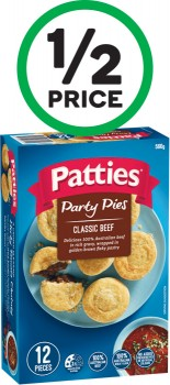 Patties-Party-Pies-560g-or-Sausage-Rolls-450g-Pk-12-From-the-Freezer on sale