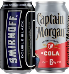 Smirnoff-Ice-Double-Black-6.5-or-Captain-Morgan-Cola-6-Varieties-10-Pack on sale