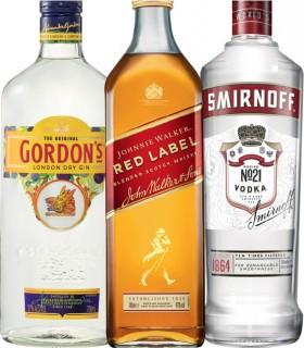 Gordons-Dry-Gin-Johnnie-Walker-Red-Label-Scotch-Smirnoff-Vodka-Red-Label-700mL on sale